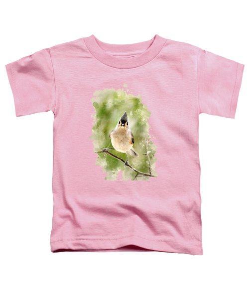 Tufted Titmouse - Watercolor Art Toddler T-Shirt by Christina Rollo