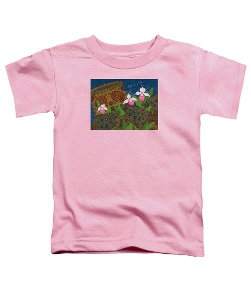 Toddler T-Shirt featuring the painting Turtle - Mihkinahk by Chholing Taha