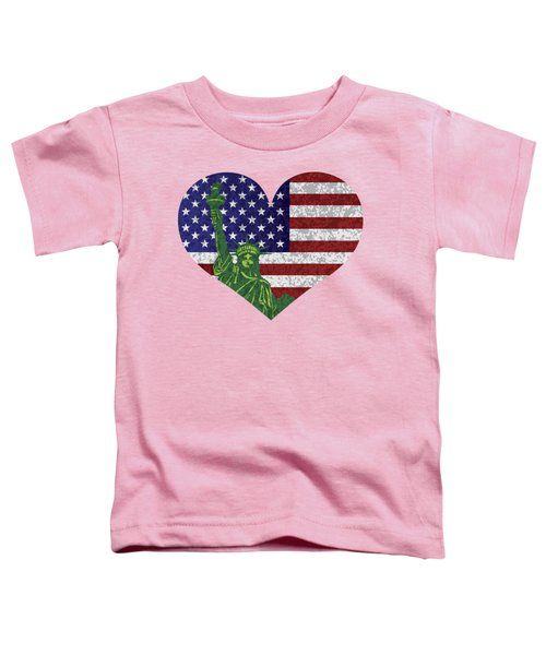 Usa Heart Flag And Statue Of Liberty Toddler T-Shirt