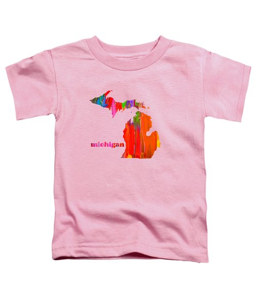 Vibrant Colorful Michigan State Map Painting Toddler T-Shirt