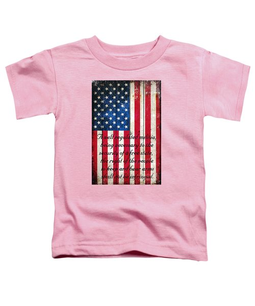 Vintage American Flag And 2nd Amendment On Old Wood Planks Toddler T-Shirt