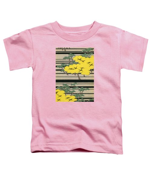 Vintage Japanese Illustration Of An Abstract Forest Landscape With Flying Cranes Toddler T-Shirt