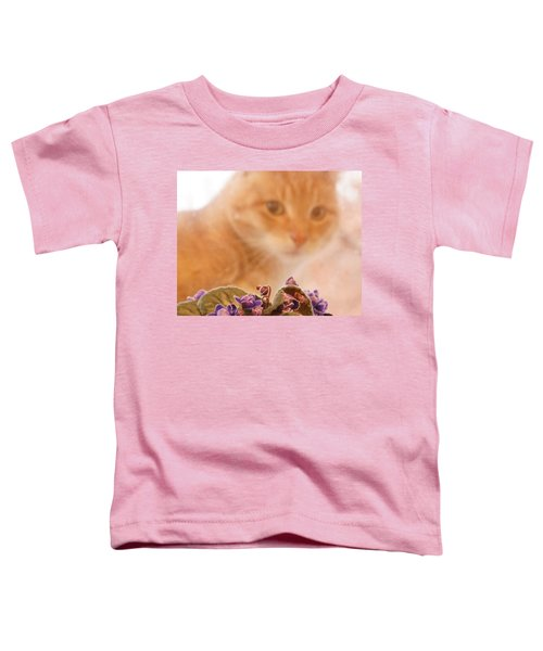 Violets With Cat Toddler T-Shirt