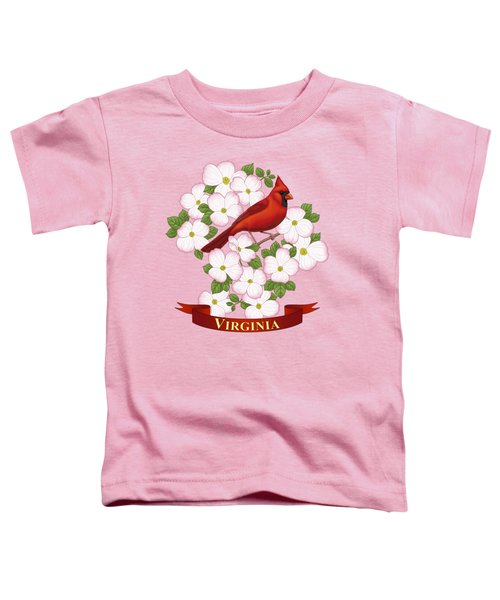 Virginia State Bird Cardinal And Flowering Dogwood Toddler T-Shirt by Crista Forest