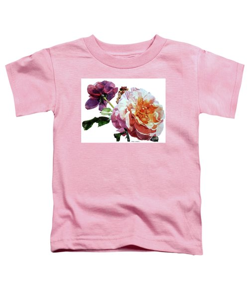 Watercolor Of Two Roses In Pink And Violet On One Stem That  I Dedicate To Jacques Brel Toddler T-Shirt