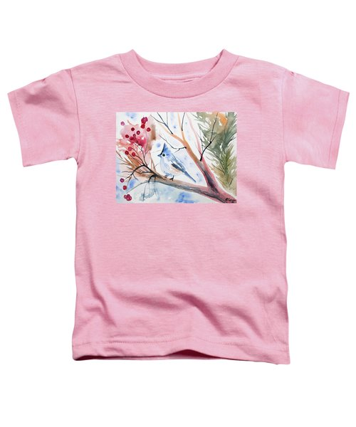 Watercolor - Tufted Titmouse With Winter Berries Toddler T-Shirt