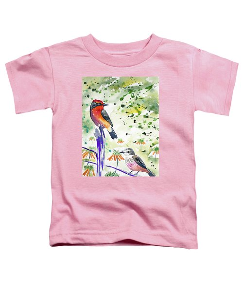 Watercolor - Vermilion Flycatcher Pair In Quito Toddler T-Shirt
