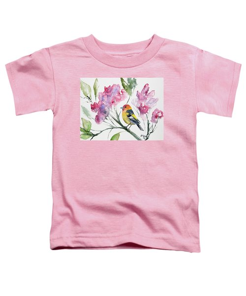 Watercolor - Western Tanager In A Flowering Tree Toddler T-Shirt