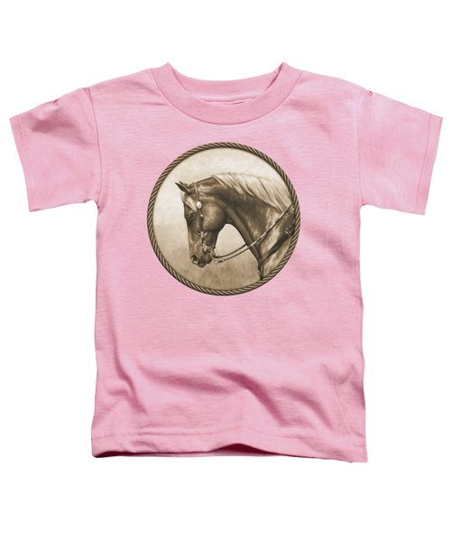 Western Pleasure Quarter Horse In Sepia Toddler T-Shirt