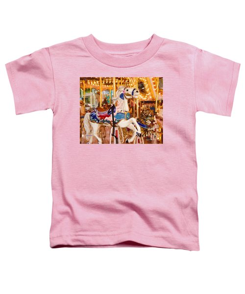 White Carousel Horse Impasto Painting Toddler T-Shirt