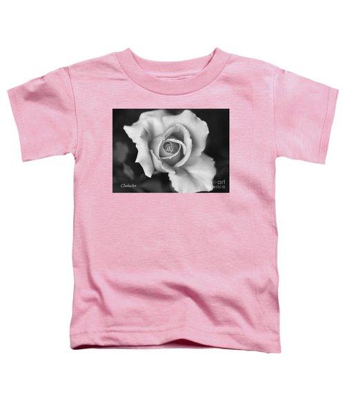 White Rose On Black Toddler T-Shirt