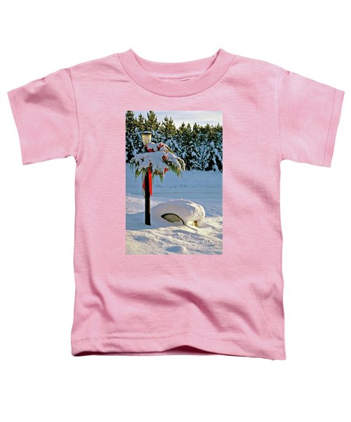Winter Lamp Post In The Snow With Christmas Bough Toddler T-Shirt