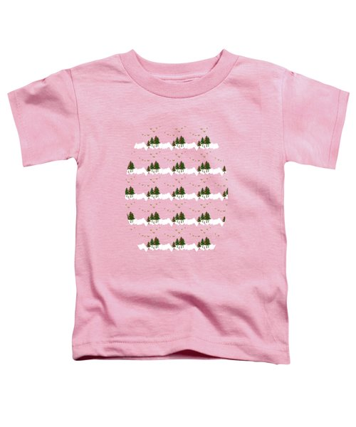 Toddler T-Shirt featuring the mixed media Winter Woodlands Bird Pattern by Christina Rollo