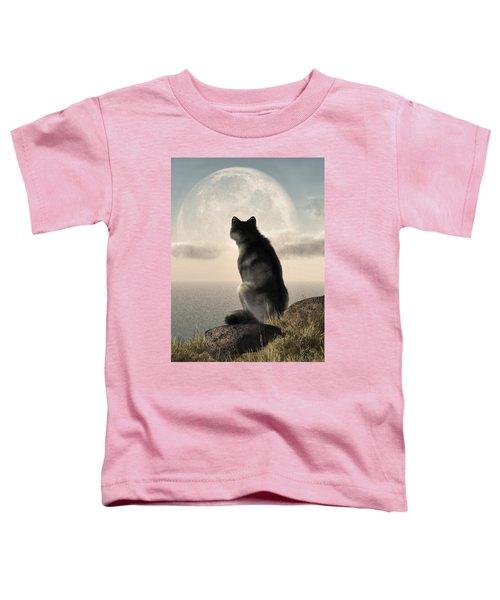 Wolf Watching The Moonrise Toddler T-Shirt