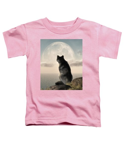 Wolf Watching The Moonrise Toddler T-Shirt
