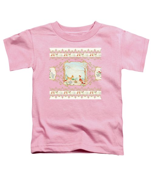 Woodland Fairy Tale - Blush Pink Forest Gathering Of Woodland Animals Toddler T-Shirt by Audrey Jeanne Roberts