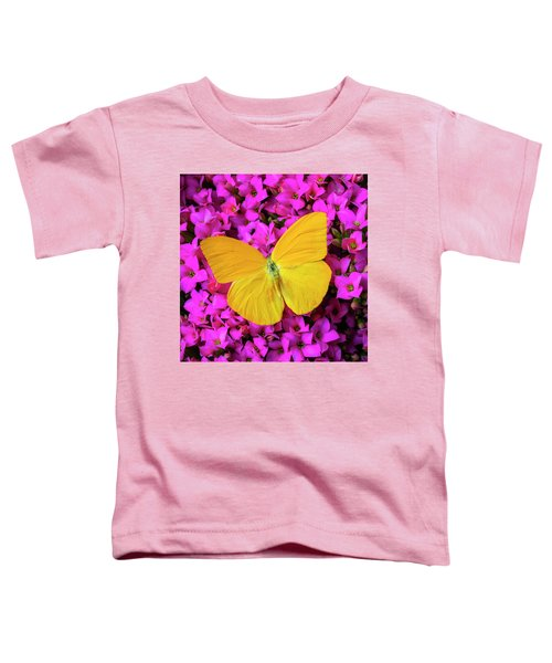 Yellow Butterfly On Pink Kalanchoe Toddler T-Shirt
