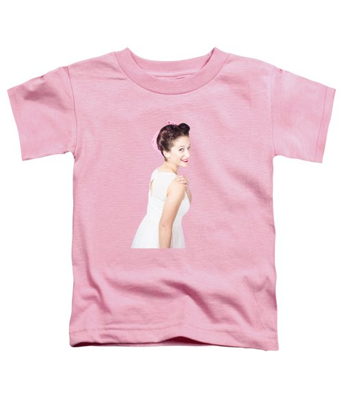 Young Happy Retro Woman Wearing Red Lipstick Toddler T-Shirt