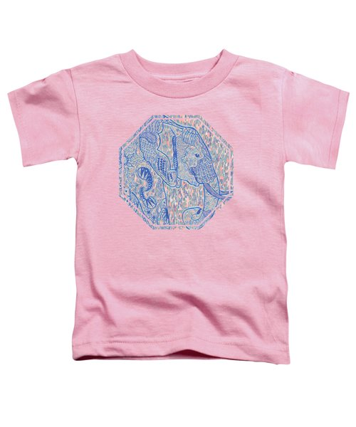 Zentangle Elephant-oil Toddler T-Shirt by Becky Herrera