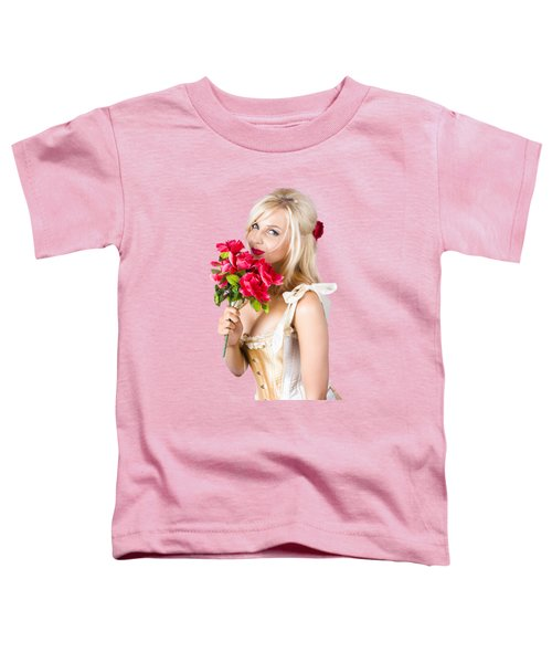 Adorable Florist Woman Smelling Red Flowers Toddler T-Shirt