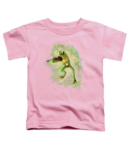 Humorous Tree Frog Playing A Fiddle Toddler T-Shirt