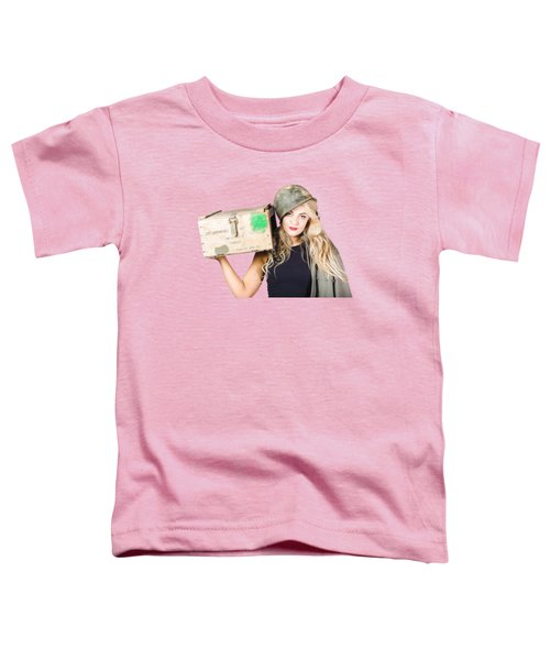 Backup Pinup Girl Wearing Army Helmet And Supplies Toddler T-Shirt