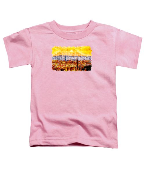 Barcelona Buildings Watercolor Drawing Toddler T-Shirt