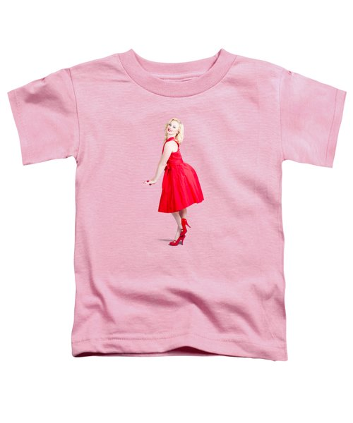 Beautiful Woman Model In Red Dress And High Heels Toddler T-Shirt
