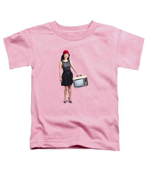 Beautiful Woman With Television Toddler T-Shirt