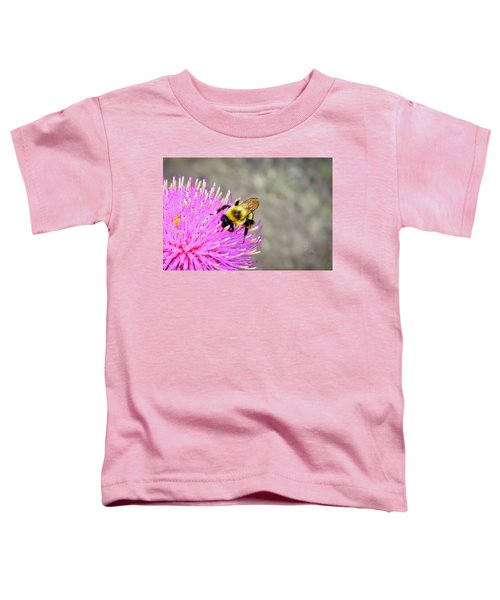 Bee On Pink Bull Thistle Toddler T-Shirt