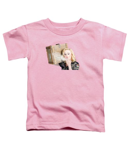Brave Army Girl Holding Explosive Small Arms Toddler T-Shirt