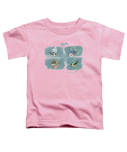 Brightly Colored Songbirds On Watercolor Frames Toddler T-Shirt