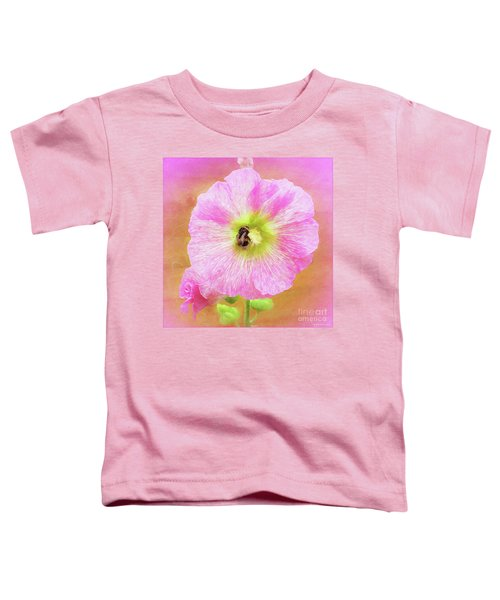 Bumblebee Snacking Delicate Hollyhock Toddler T-Shirt