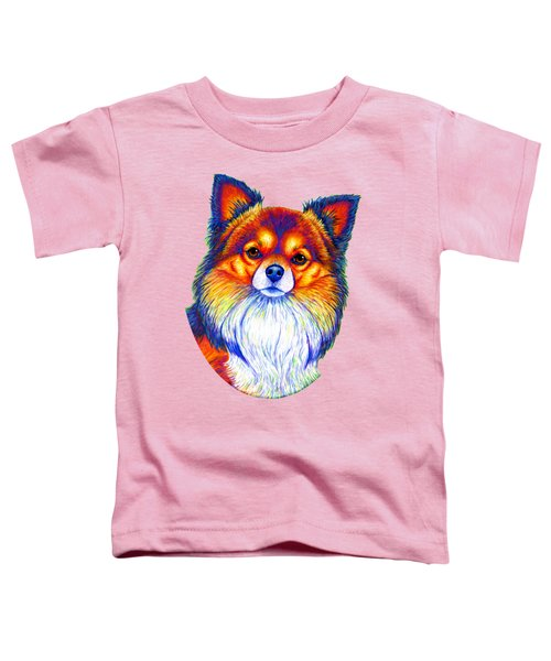 Colorful Long Haired Chihuahua Dog Toddler T-Shirt