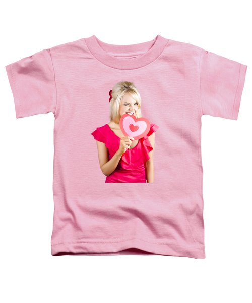 Cute Woman Biting Big Red Love Heart Toddler T-Shirt