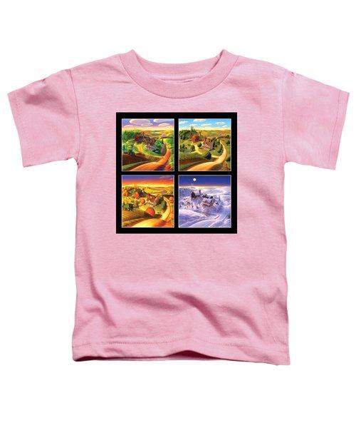 Four Seasons Squared/black Toddler T-Shirt