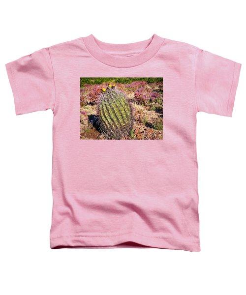 Fruit-bearing Barrel Cactus In Desert Rhubarb Toddler T-Shirt