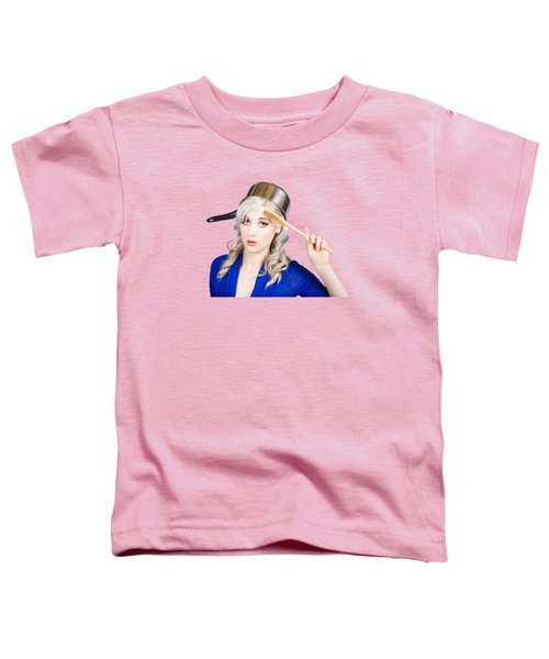 Funny Pin Up Housewife Saluting For Cooking Duties Toddler T-Shirt