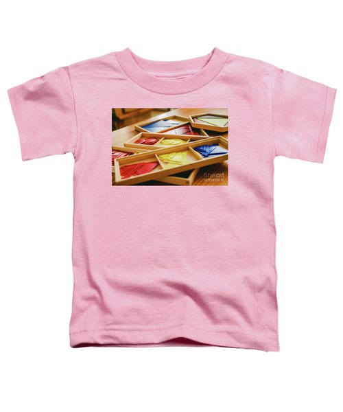 Geometric Material In Montessori Classroom For The Learning Of Children In Mathematics Area. Toddler T-Shirt
