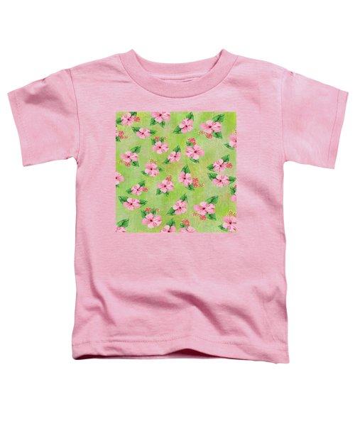Green Batik Tropical Multi-foral Print Toddler T-Shirt
