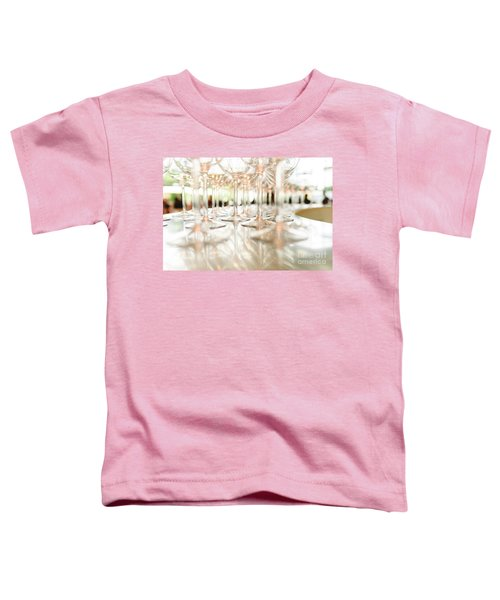 Group Of Empty Transparent Glasses Ready For A Party In A Bar. Toddler T-Shirt