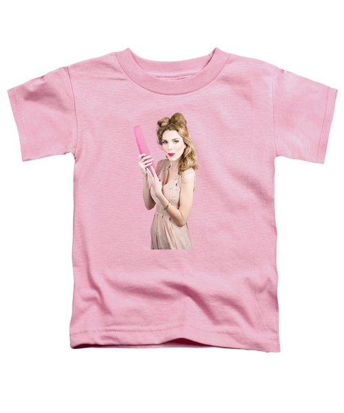 Hair Style Model. Pinup Girl With Large Pink Comb Toddler T-Shirt