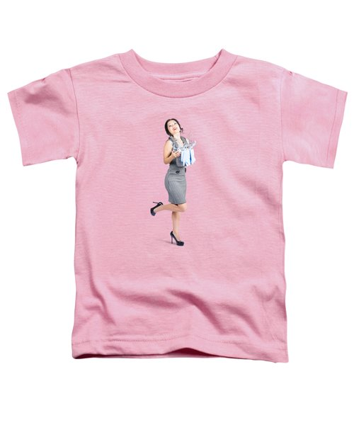 Happy Cleaning Woman Kicking Up Dirt And Grime Toddler T-Shirt
