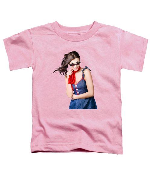 Happy Smiling Young Pinup Girl In Rockabilly Style Toddler T-Shirt