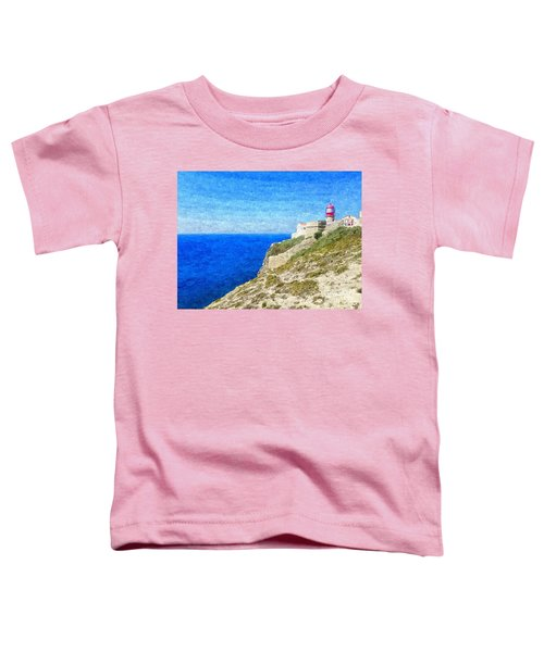 Lighthouse On Top Of A Cliff Overlooking The Blue Ocean On A Sunny Day, Painted In Oil On Canvas. Toddler T-Shirt