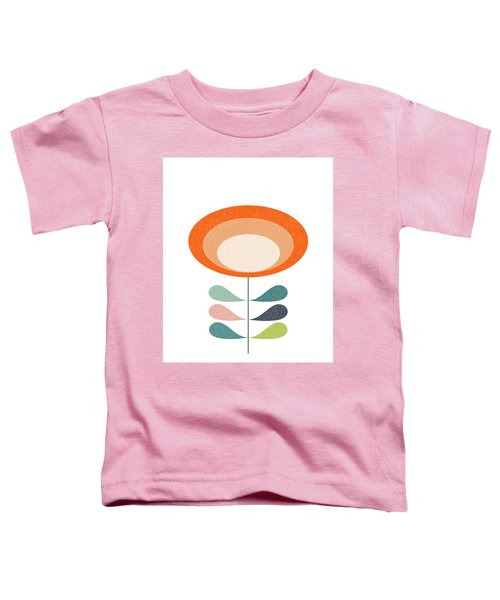 Mid Century Modern Orange Flower  Toddler T-Shirt