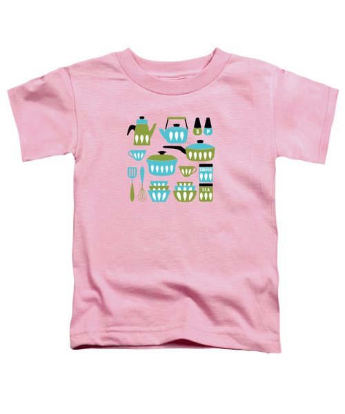My Midcentury Modern Kitchen In Aqua And Avocado Toddler T-Shirt