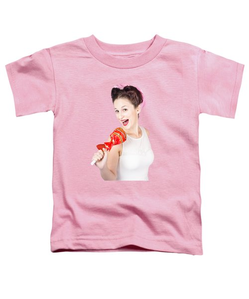 Pin-up Girl Singing Into Large Lollypop Microphone Toddler T-Shirt