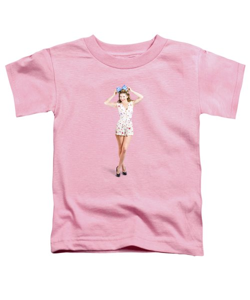 Pin-up Lady Playing With Hairstyle Accessory Toddler T-Shirt