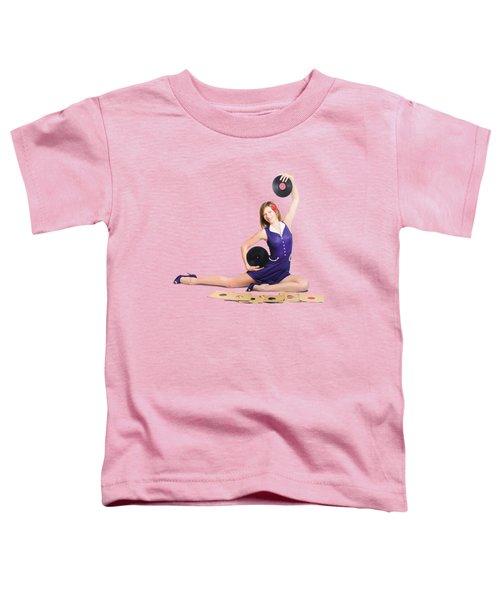 Pin-up Woman Balancing Sound With Record Music Toddler T-Shirt